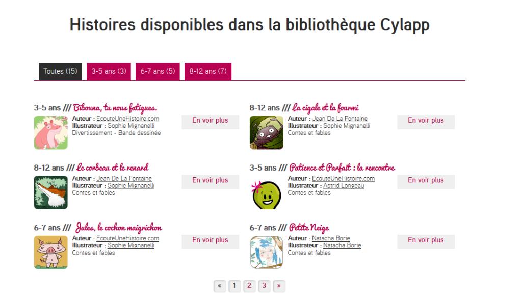 Capture d'écran de la bibliothèque d'histoires sur le site.