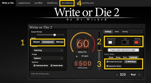 Ecran 1 de Write or Die