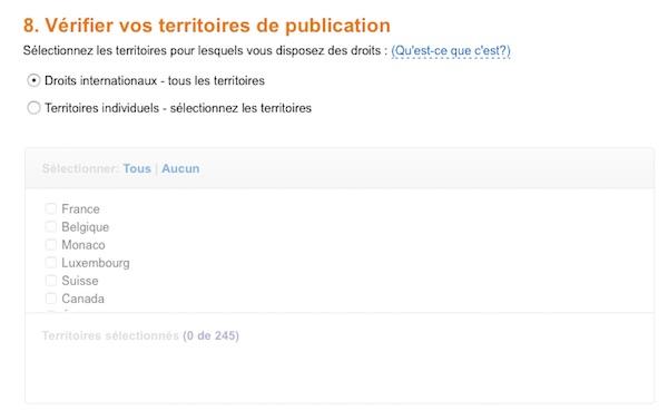 KDP - Etape 2 : Territoire de publication