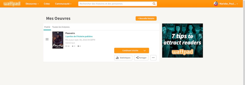 Mes oeuvres sur Wattpad