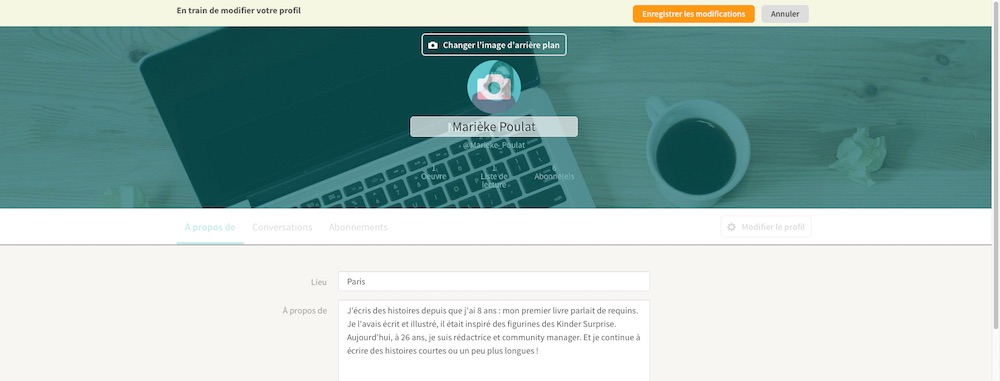 Modifier son profil sur Wattpad