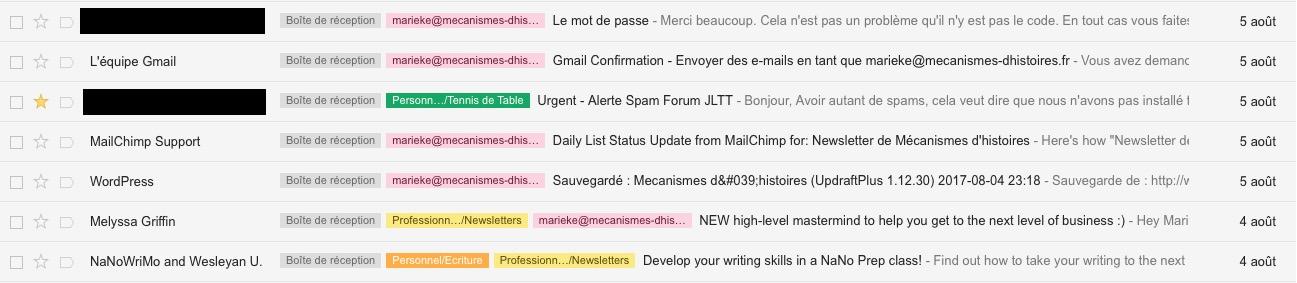 Mon rangement avec les labels sur Gmail