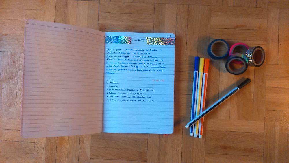 La page projet de mon bulle journal