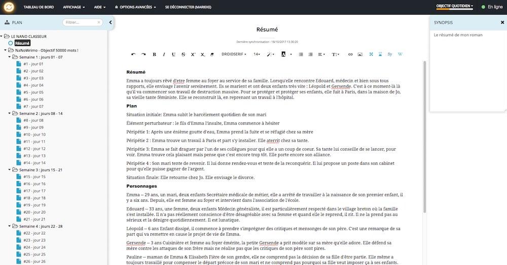 Mécanismes d'Histoires - Test de Scribbook - Espace projet - scène
