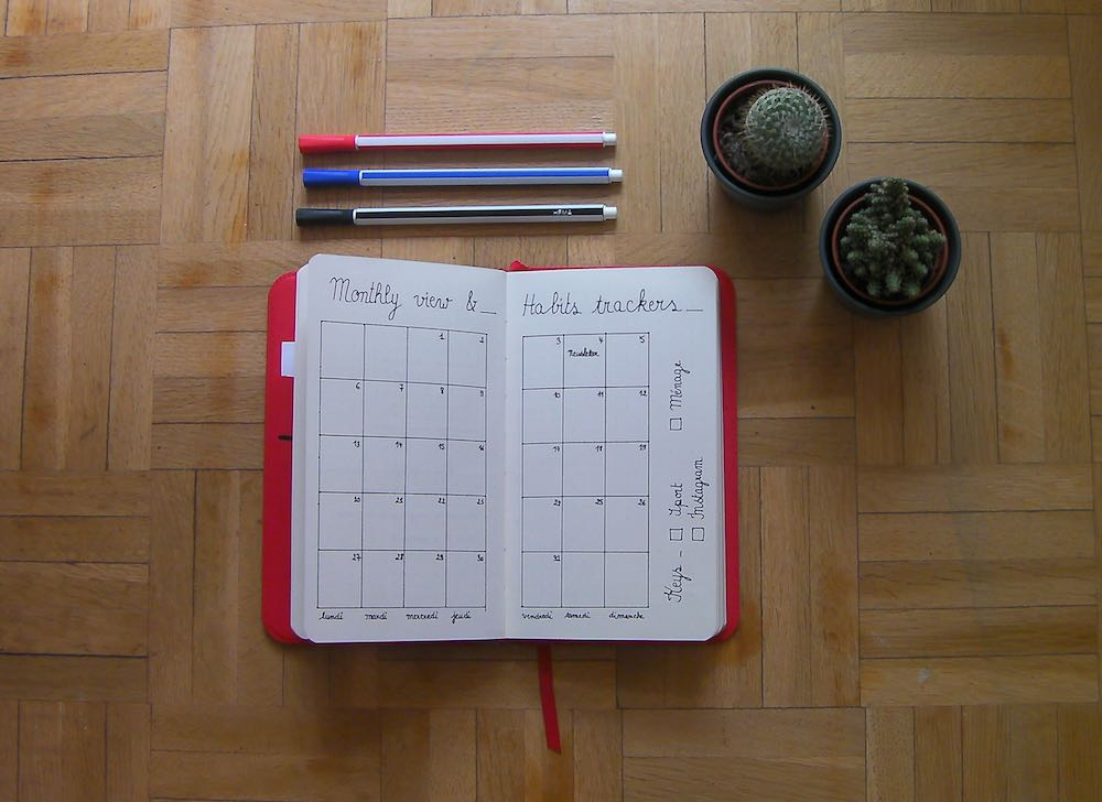 Bullet journal Août 2018 - Monthey view & habits trackers