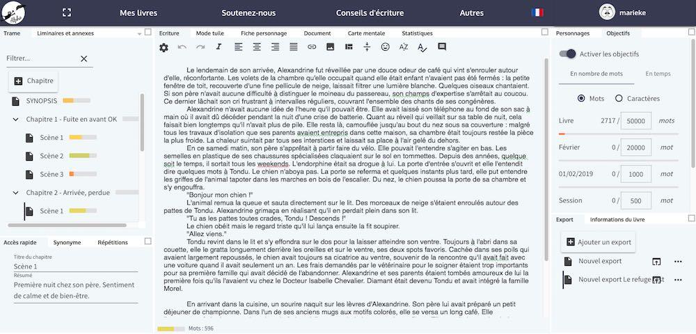 WriteControl, application d'écriture