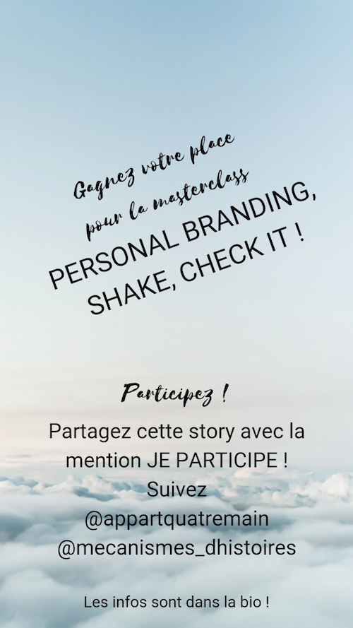 Story Instagram Concours Personal Branding
