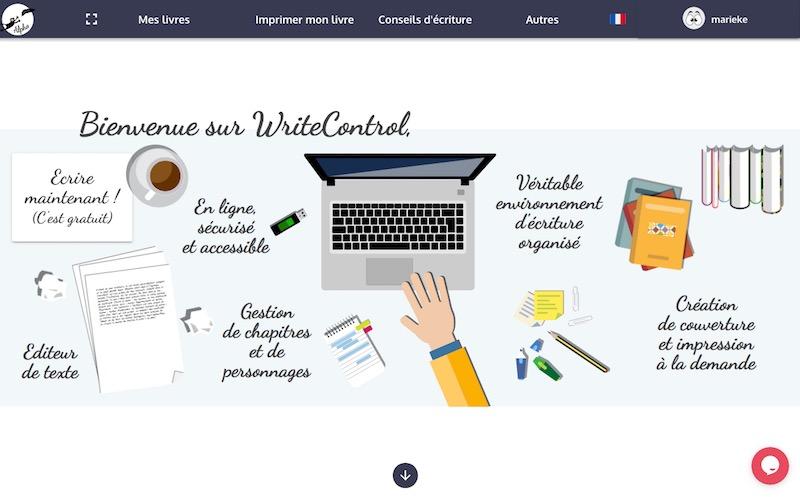 Page d'accueil de Write Control