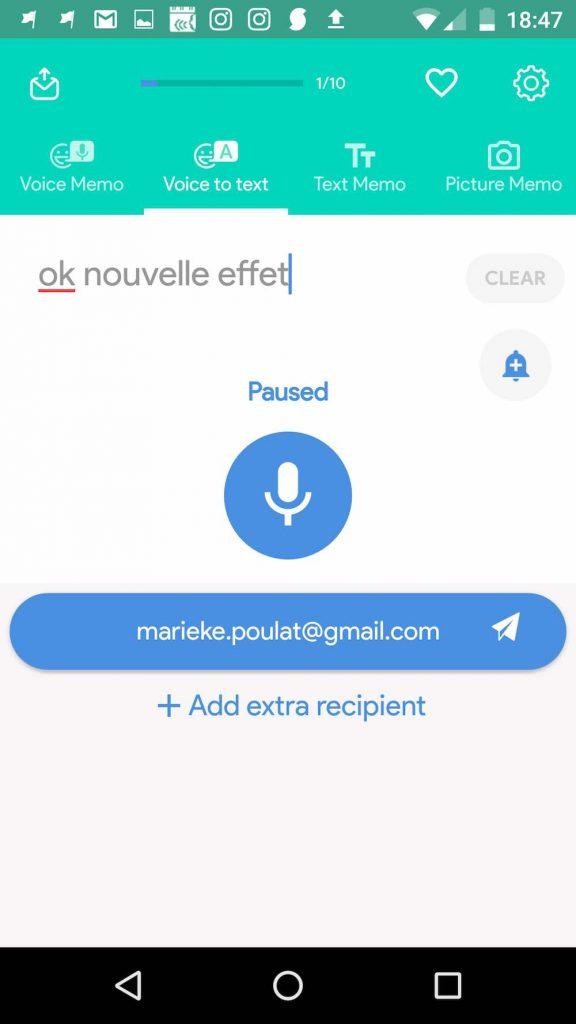 Screenshot application de prise de note vocale VoNo – Mécanismes d'Histoires